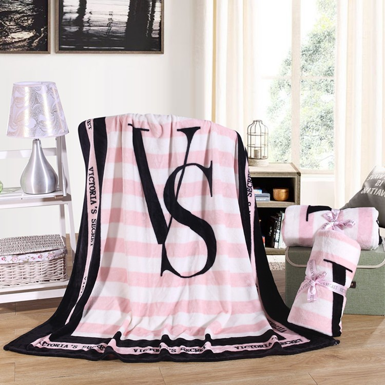 130*150cm Spring/Autumn Victoria Brand VS Secret Pink Coral Fleece Fabric Blankets Size Flannel Bedding Article Small Blanket