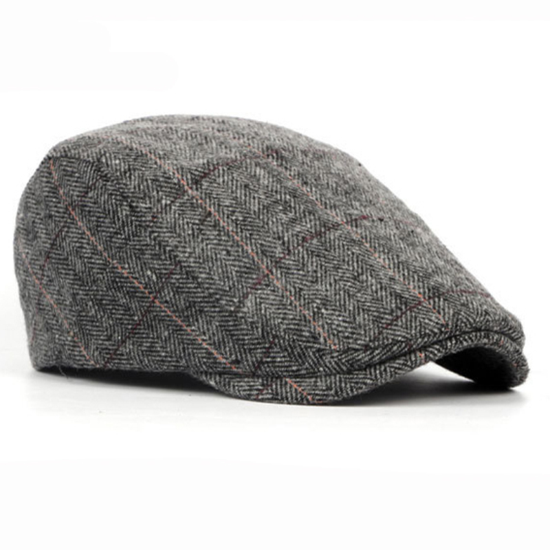 Autumn Winter Men Cap Hats Berets British Western Style Wool Advanced Flat Ivy Cap Classic Vintage Striped Beret Cap