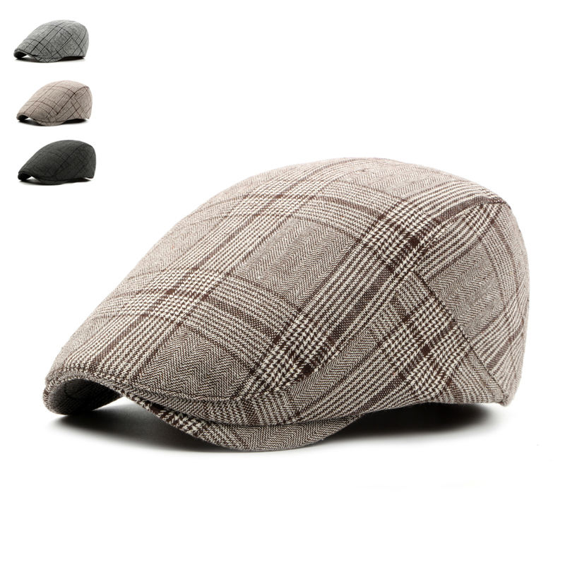 British Style Summer Sun Hats for Men Women High Quality Casual Cotton Women Beret Caps Adjustable Plaid Flat Cap