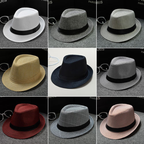 Fashion Unisex Straw Fedoras Sun Hat Panama Trilby Crushable Mens Ladies Foldable Travel Hats Cap Fedora