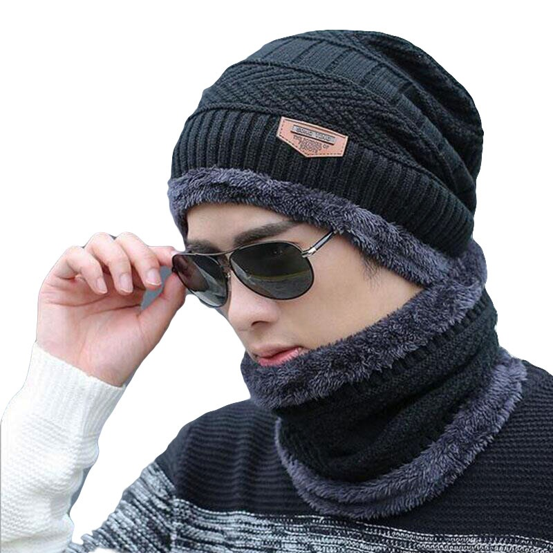 Winter Beanies Men 2 pc Scarf Knitted Hat Caps Mask Gorras Bonnet Warm Baggy Winter Hats For Men Women Skullies Beanies Hats