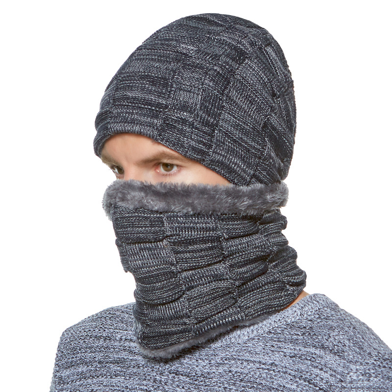 Beanies Men 2 pc Scarf Knitted Hat Caps Mask Gorras Bonnet Warm Baggy Winter Hats