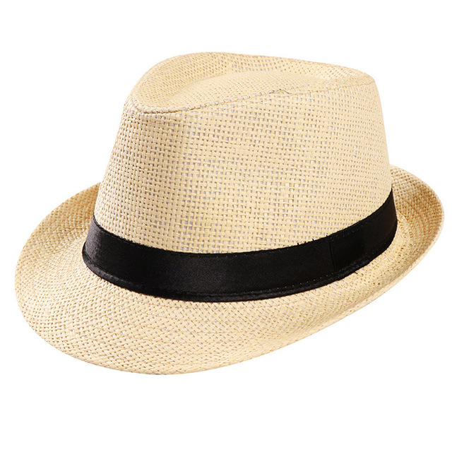 Summer fashion Unisex jazz fedoras hat flat brim wide brim strawhat Cap Beach Sun Straw Hat Band Sunhat