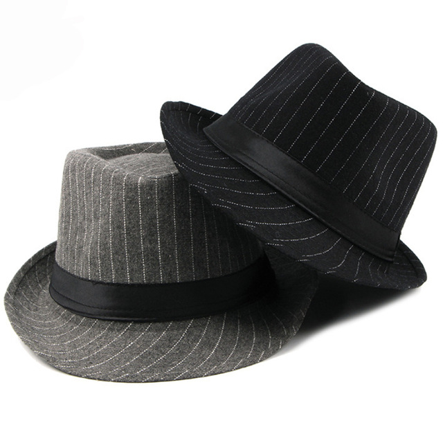 Men Fedora Hat British Style Striped Trilby Hat Classic Retro Derby Bowler Jazz Hat Casual Grey Black Fedoras