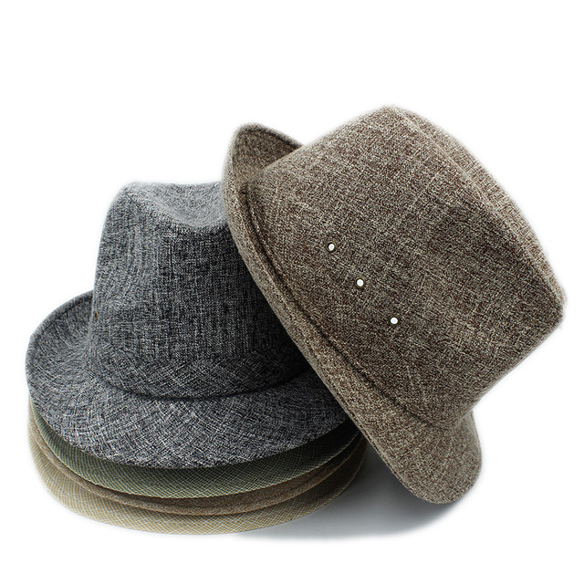 Men Homburg Fedora Hat For Gentleman Travel Church Panama Sun Hat For Dad Gift