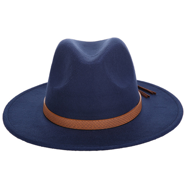 Fashion Luxury Brand Solid Color Fedoras Hat Man Woman Felt Hat Autumn and Winte Wool Leather Bone Jazz Elegant Vintage