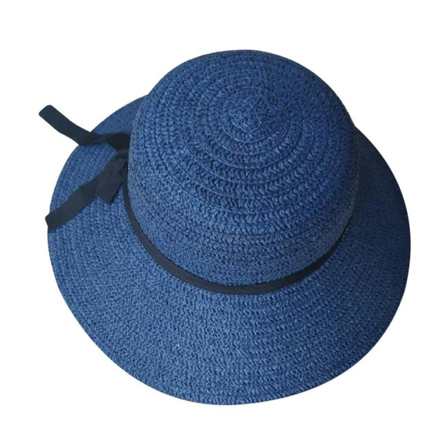 ca470b06 Floppy Foldable sun caps Ribbon Round Flat Top Straw beach hat Panama Hat  summer hats for ...