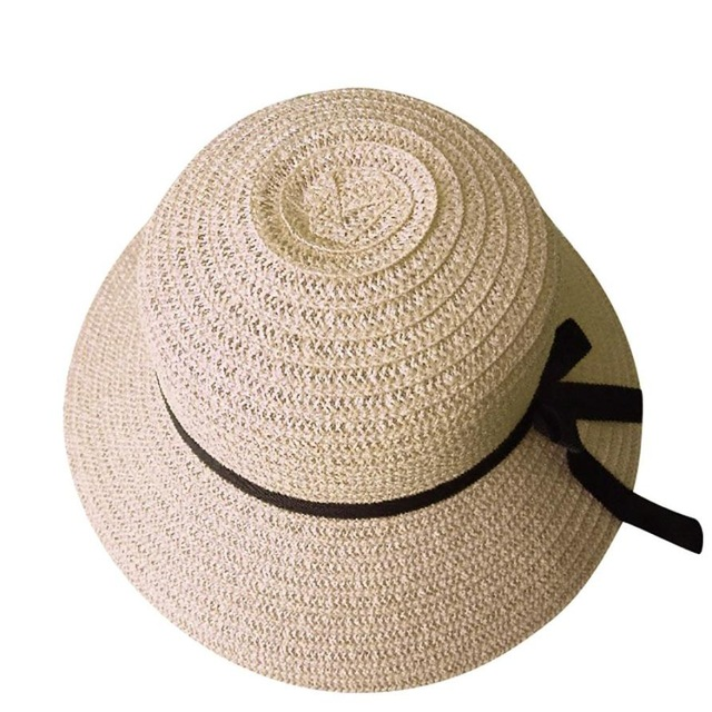 Floppy Foldable sun caps Ribbon Round Flat Top Straw beach hat Panama Hat  summer hats for women ... 5e2326807e33