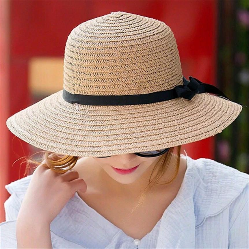 Floppy Foldable sun caps Ribbon Round Flat Top Straw beach hat Panama Hat summer hats for women straw hat snapback gorras