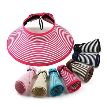 Women Adult And Children Size Summer Folding UV Straw Hat Beach Sunscreen Cap Easy Fold Empty Top Rattan Plaited Hat