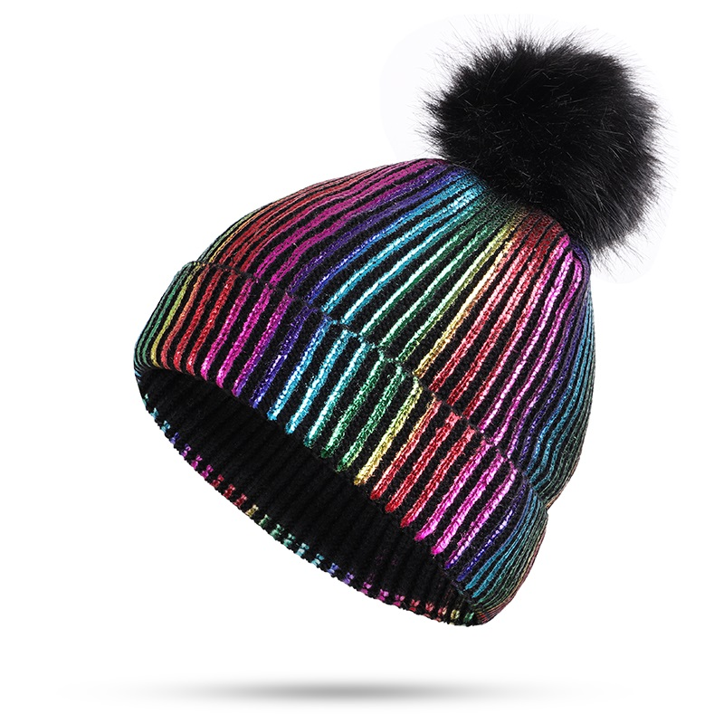 Women Winter pom pom hat bright knitted beanie