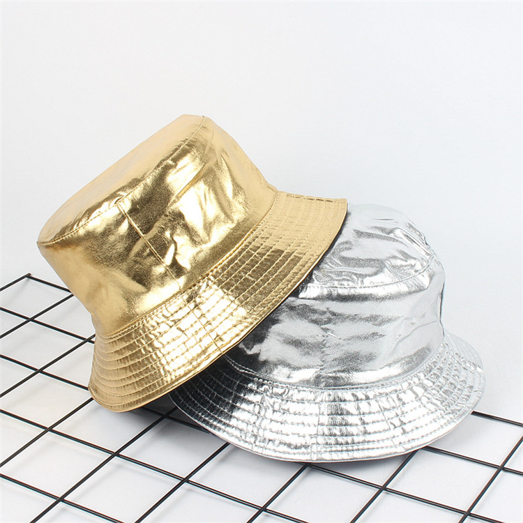 European New Fashion Gold and Silver Fisherman's Cap Double Side Available Women Street Bright Bucket Hat