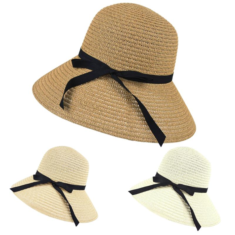 Beach Straw Knitted Hat Women Wide Brim Hot Summer Sun Hat Straw Floppy Elegant Bohemia Cap Bowknot Hats