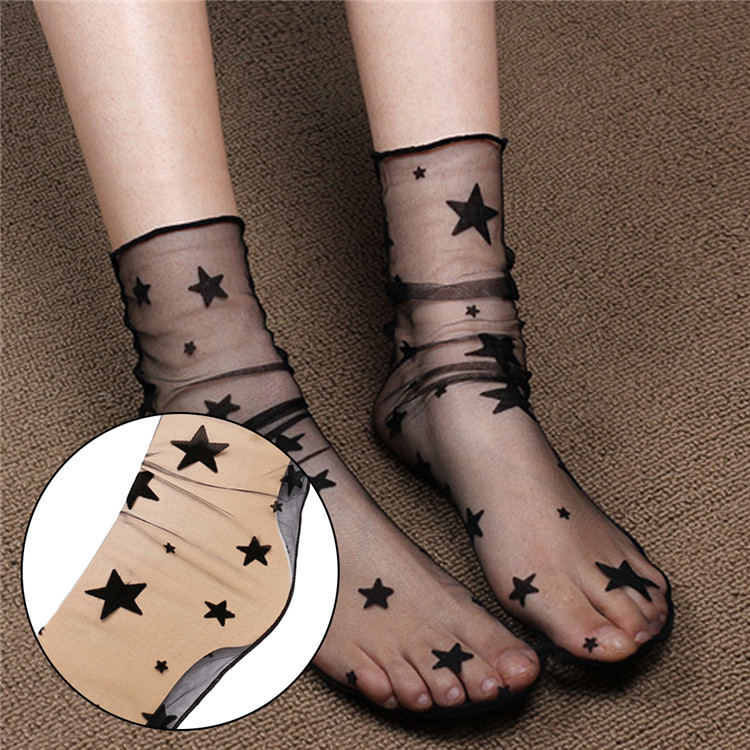 Charming Women Sexy Breathable Silk Socks Soft Heap Elasticity Black Fishnet Lace Flower Mesh Ankle Elastic Hosiery Sock