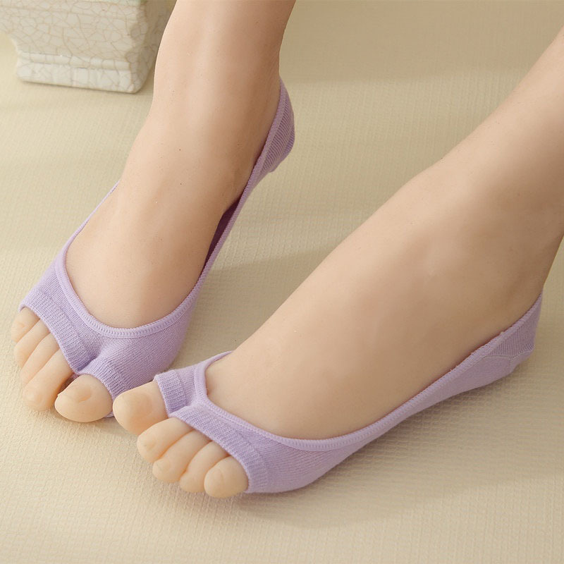 Female open two toe sock slippers invisible non-slip socks