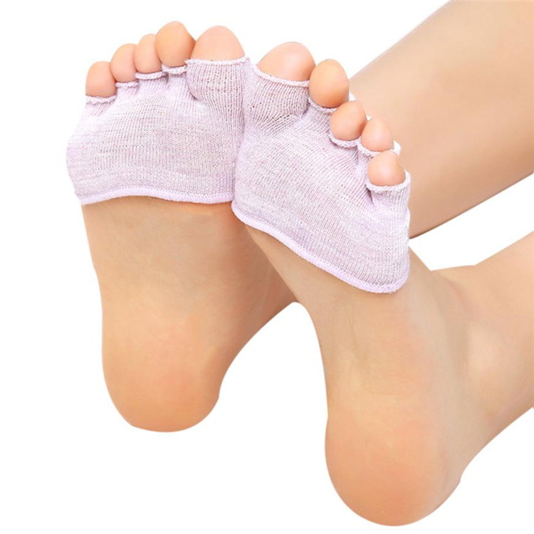 Women Invisible Half Grip Heel Five Finger Socks
