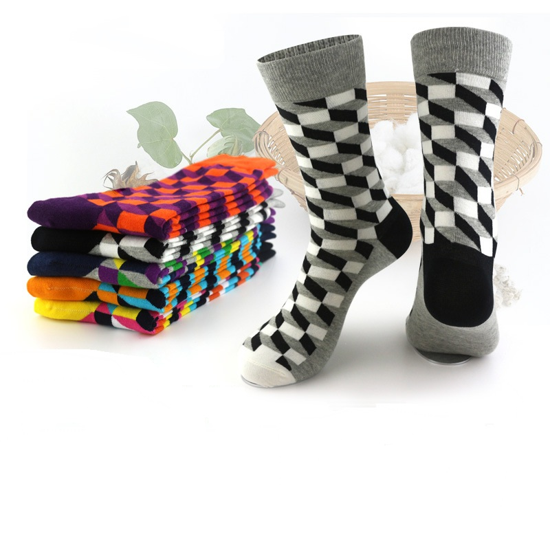 Men British style Plaid combed cotton socks