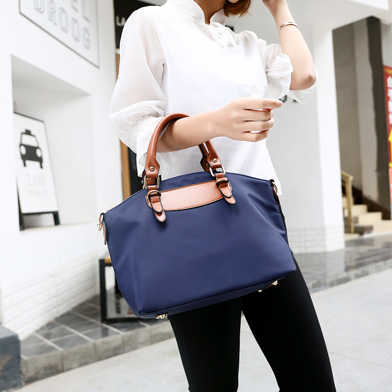 Women's Stylish Leather Oxford Nylon Tote Bag Set with large Wrist Purse Travel Shoulder Bag
