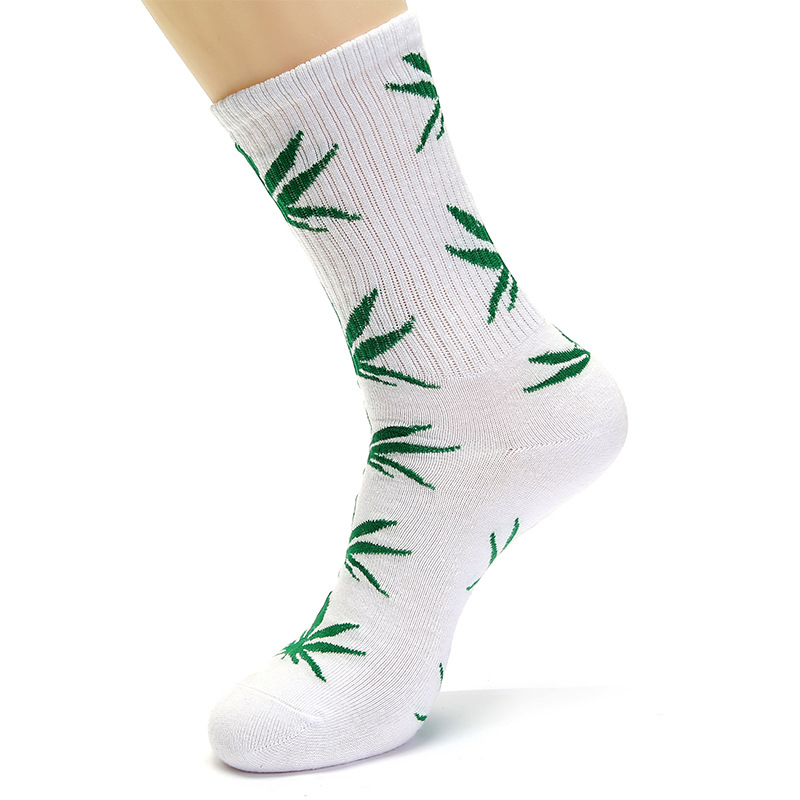 Unisex Hip Hop Maple Leaf Printed Cotton High Socks