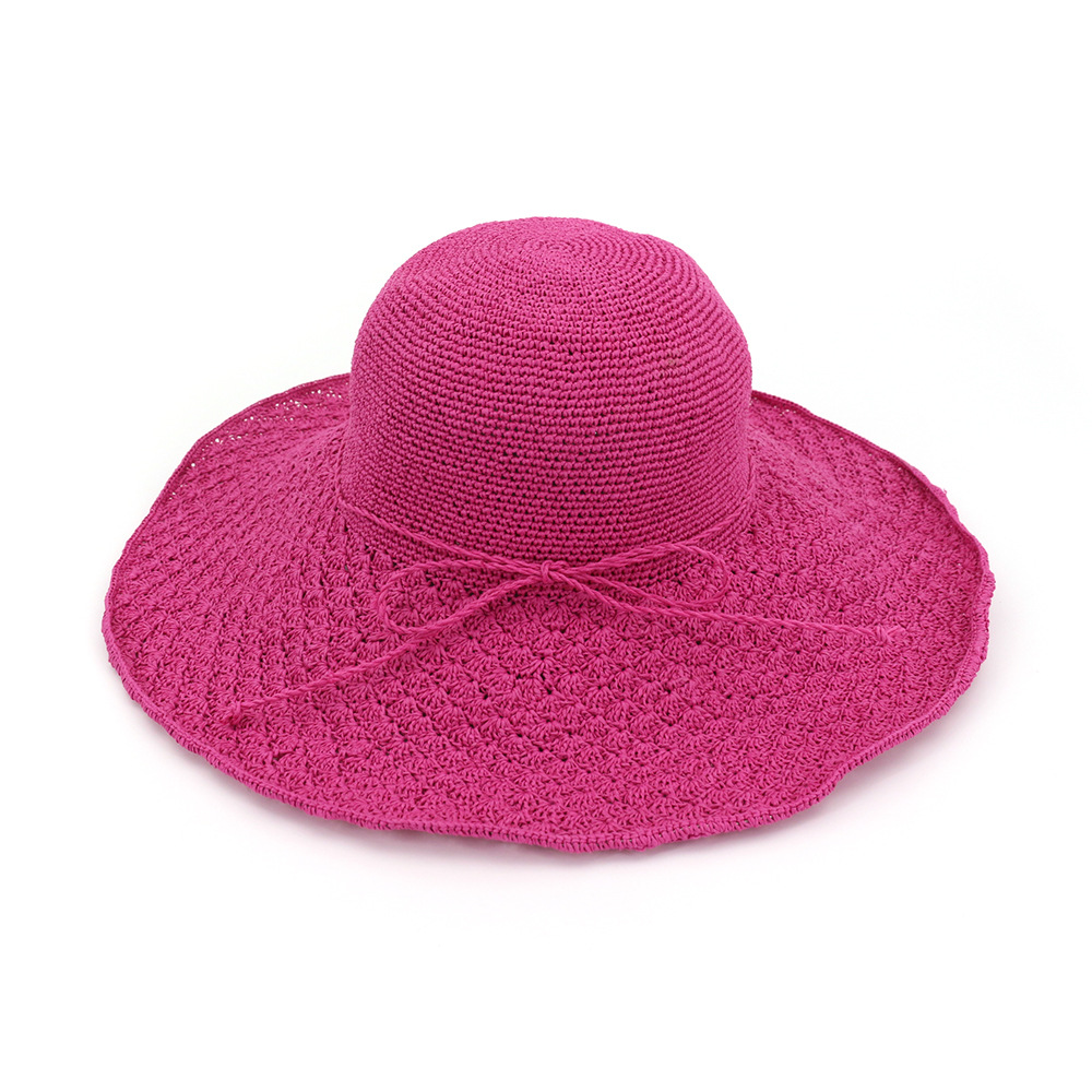 Handmade straw hat sunshade hat Beach Hat bowknot bowl hat foldable hat