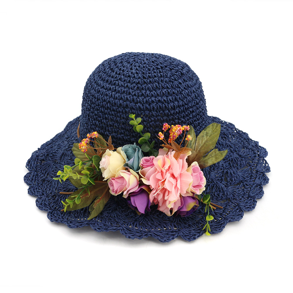Hollow straw hat idyllic dome fisherman's hat sunscreen ventilated eaves female traveling cap