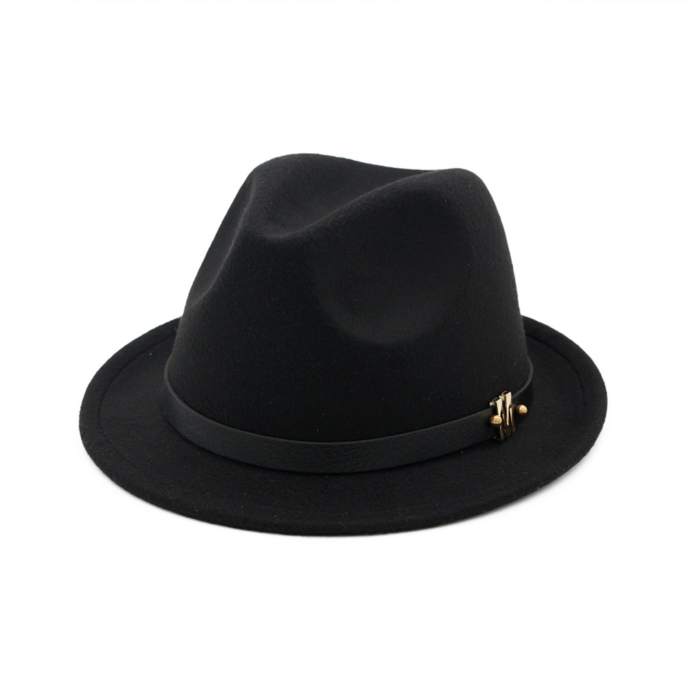 British Classic Wool Hat Autumn and Winter New Men's and Women's Jazz Hat Temperament Curly Wool fedora Hat - copy