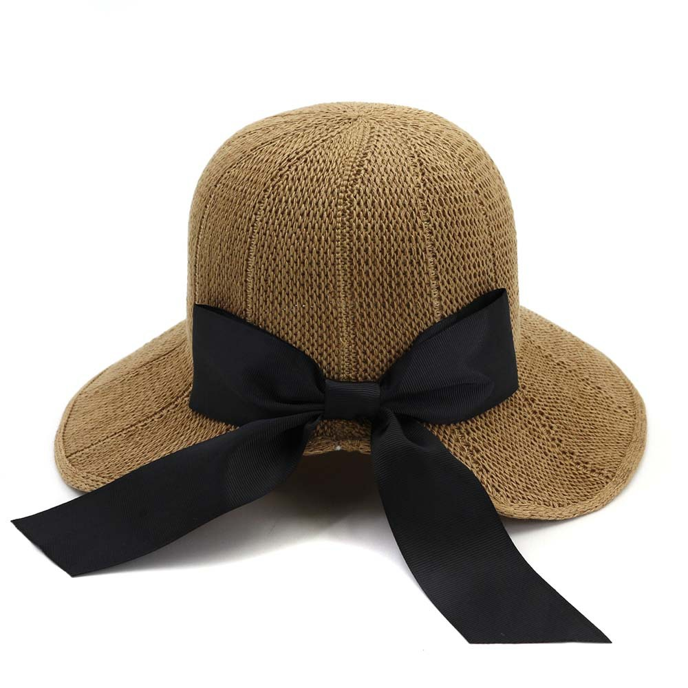 Ladies bowknot straw hat spring summer sunscreen fisherman hat straw bucket hat