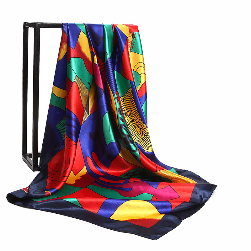 90*90cm luxury brand Women large soft faux Silk scarf Printed square scarves shawls head kerchiefs wraps bandana Gifts