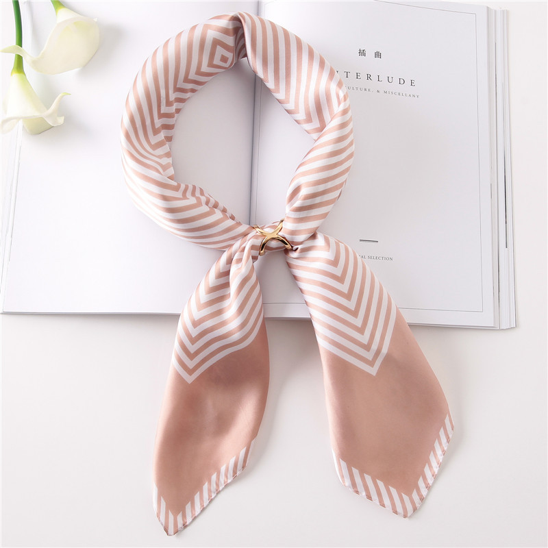 Silk Scarf 70*70 New fashion Stripes Prints Women Shawl Satin Small Squares Head Bag Decorative Scarves