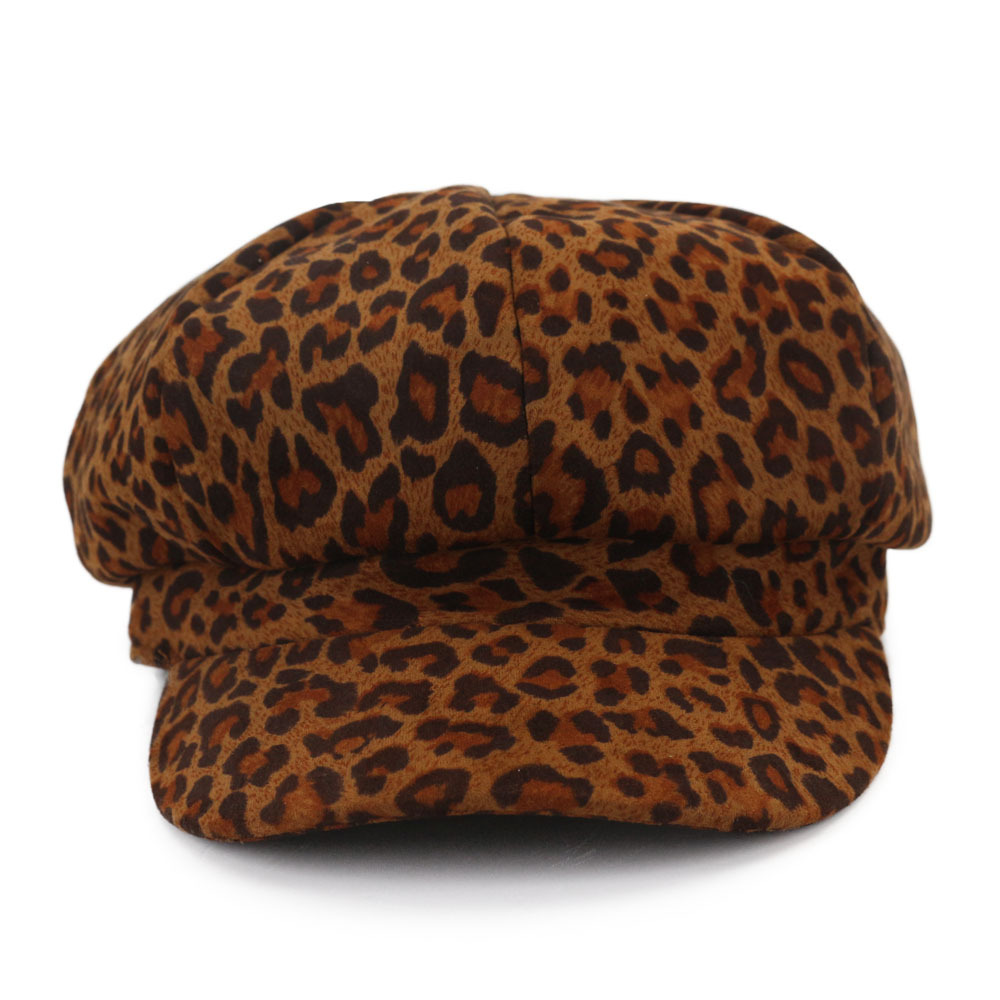 Amazon Hot selling Fashion painter hat leopard print Newsboy Hat Beret hat