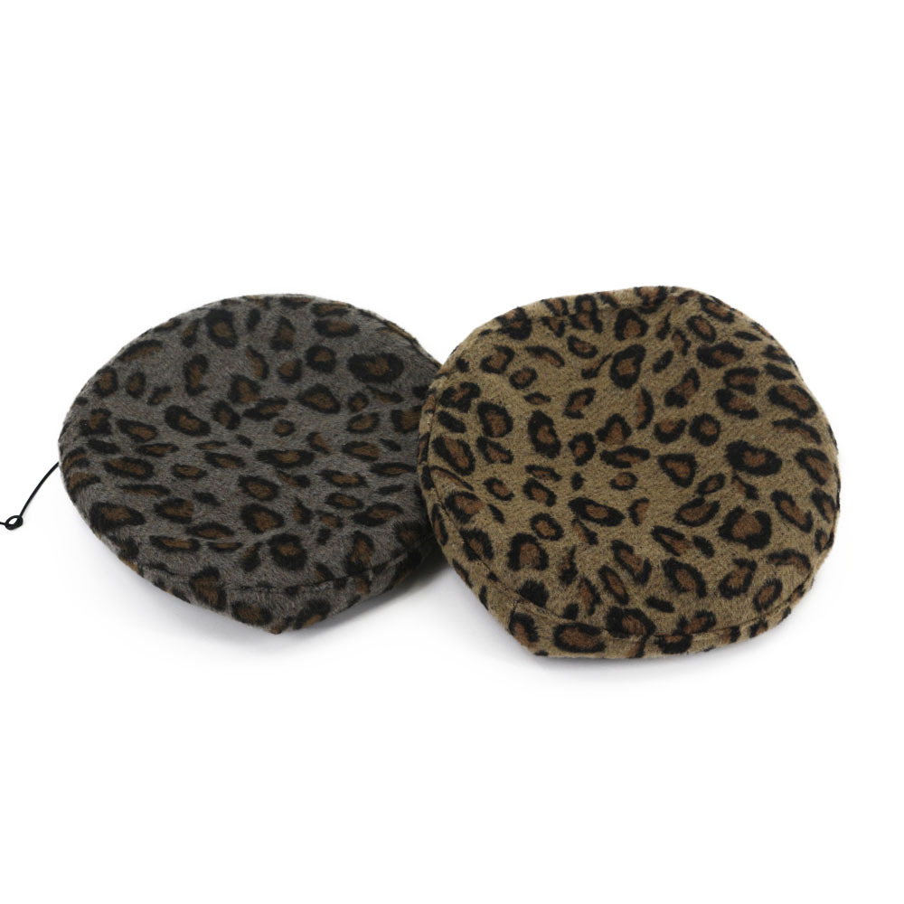 Autumn and Winter Korean Wool Beret Shopping Panther-print PU Painter Hat Literary Sweet Beret