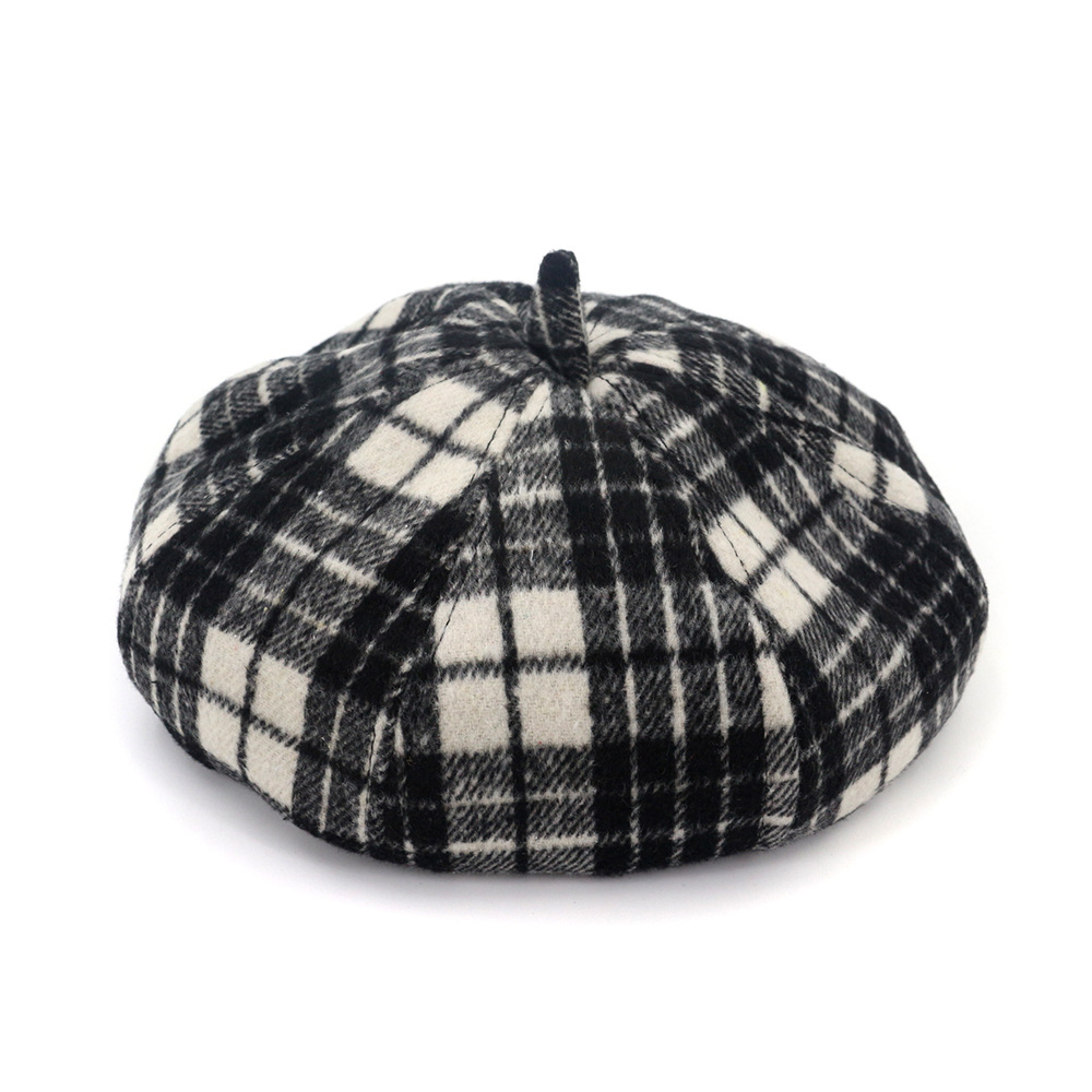 Wool Beret Female Lattice Retro Painter Hat Bud Cap