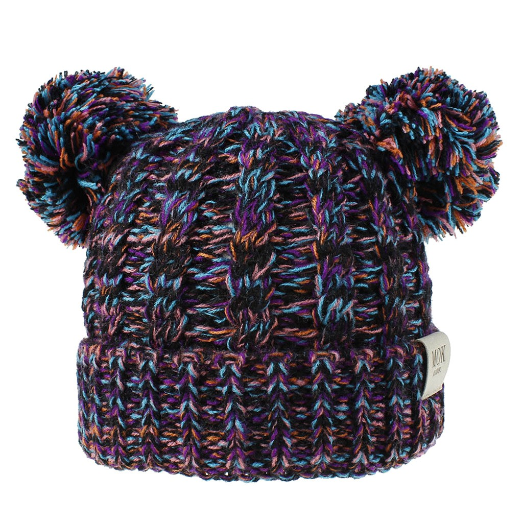 Beanies Baby Hat Pompon Winter Children Hat Knitted Cute Cap For Girls Boys Casual Solid Color Girls Hat