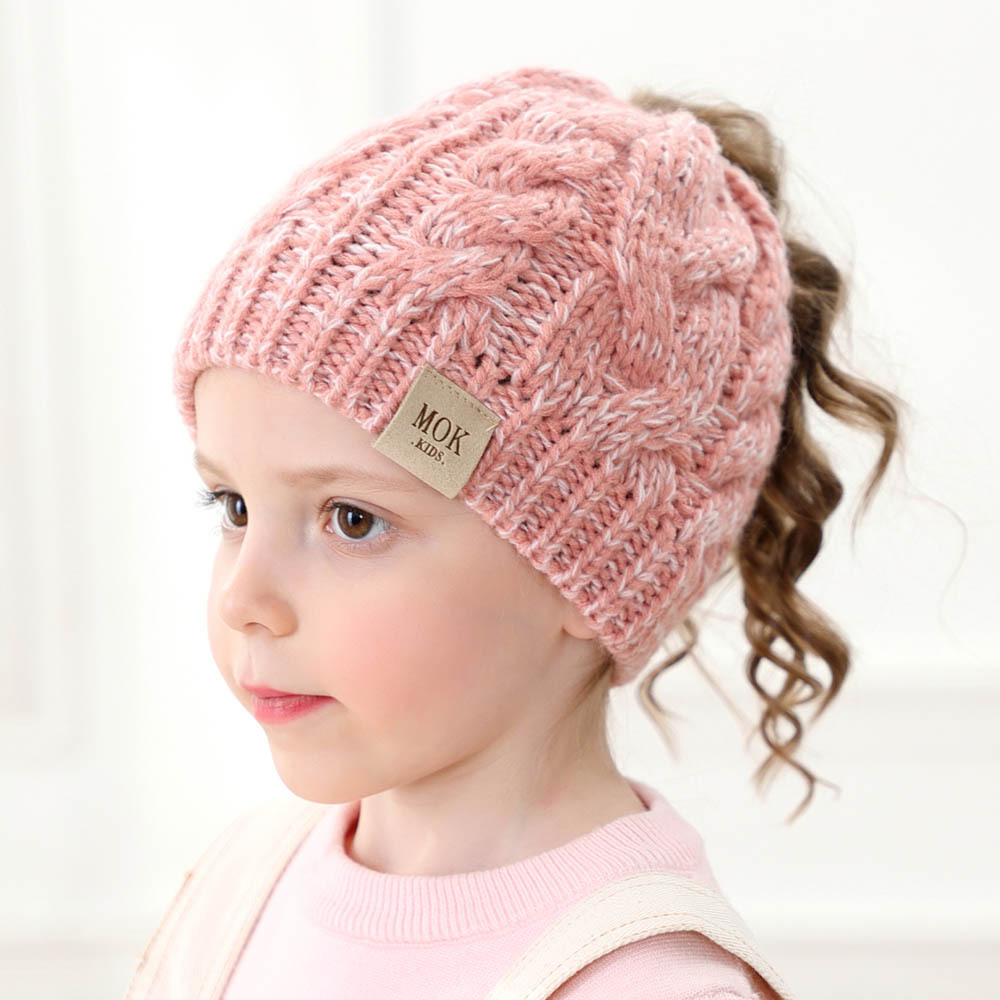 Winter Beanie Hat For Girls Letter Knit Kids Autumn Winter Warm Girls Hat Cute Ponytail Winter Beanies Hat 1-8 years old