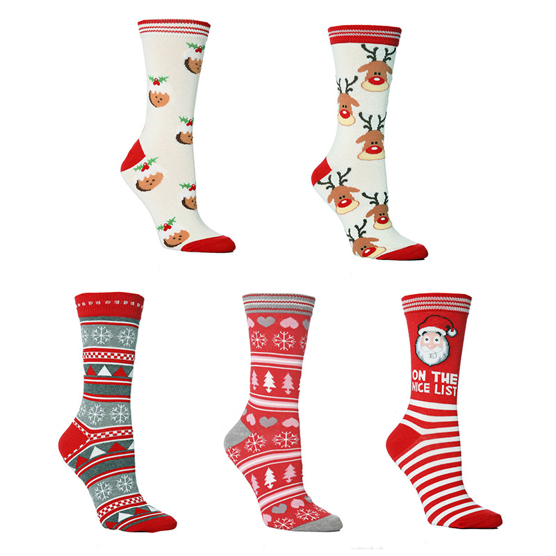 Christmas Unisex Print Multicolor Cotton Funny Socks Santa Lovely Sock
