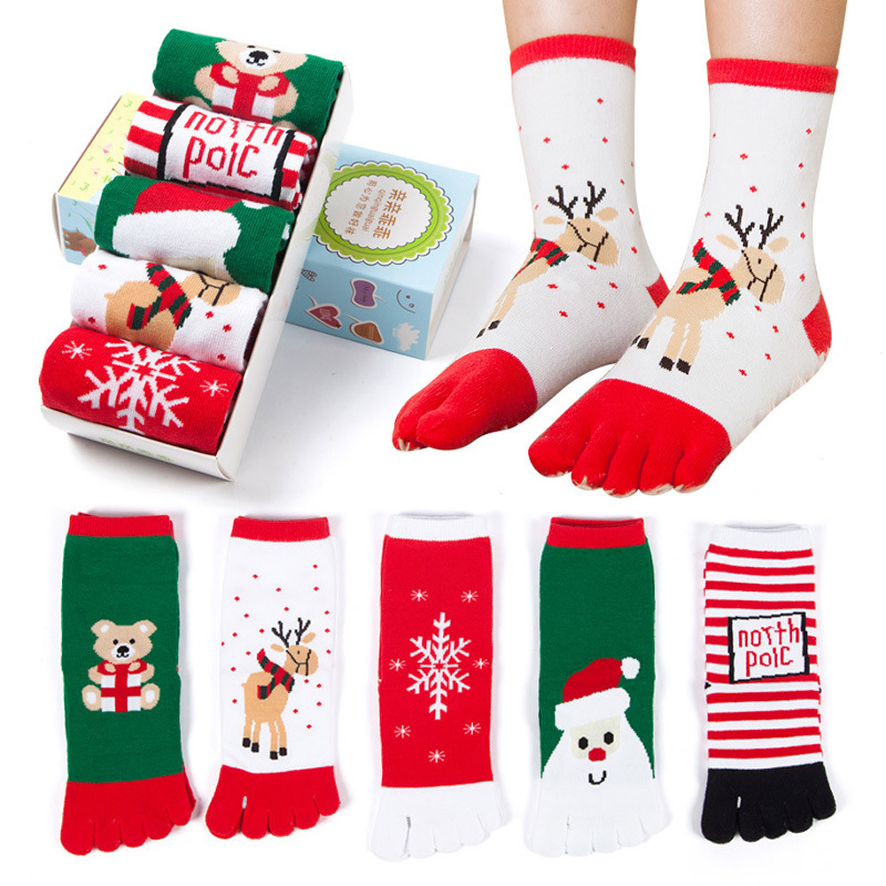 Hot Selling Christmas Unisex Print Santa Toe Socks Five Finger Sock Cotton Funny Socks